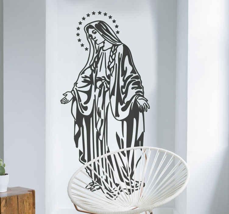 TenStickers. Adesivo de parede da virgem Santa Maria. Se você gosta de decorar a sua casa com figuras religiosas temos oadesivo de paredeideal para si como este com a imagem da virgem Santa Maria.