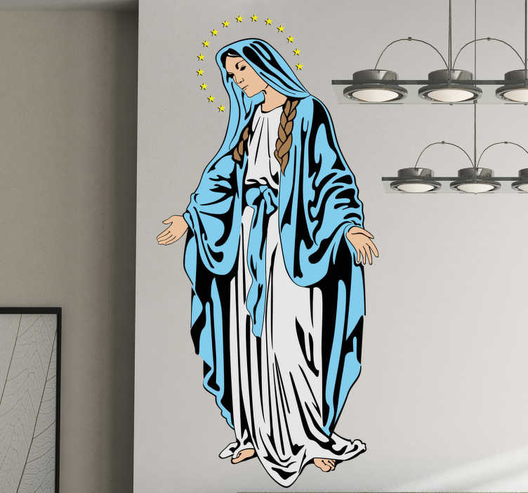 TenStickers. Virgin Mary Wall Decal. A Christian wall art sticker illustrating Virgin Mary. If you are looking for a religious decal to show your devotion then have found it!