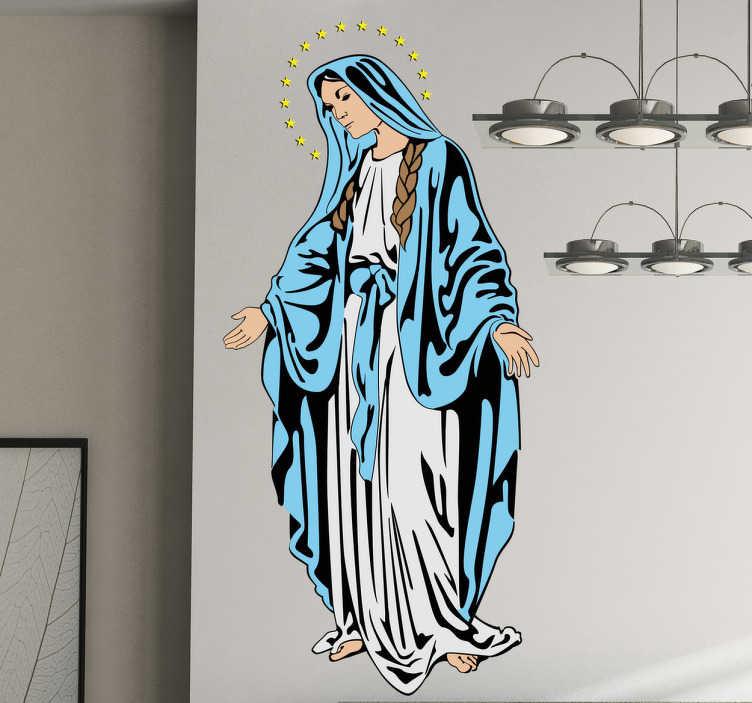 TenStickers. Autocolante de parede religioso da Virgem Maria. Se você for cristão e gostar de ter a sua casa com figuras religiosas decore as suas paredes com esteadesivo de paredereligioso da Santa Maria