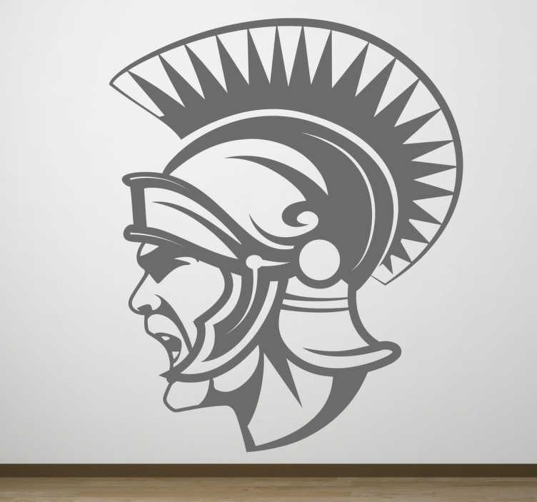 TenStickers. Naklejka dekoracyjna Centurion. naklejki na ścianę z rzymskim wojownikiem. Twarz wykrzywioa do krzyku i zagrzewająca do walki. Centurion z piuropuszem na głowie.