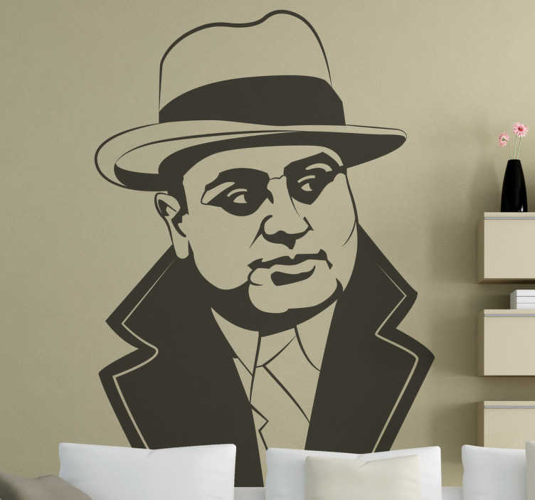 TenStickers. Sticker gangster Maffia Al Capone. Muursticker van één van de bekendste maffia figuren Al Capone. Bent u een fan van maffiaverhalen? Dan is deze wanddecoratie iets voor u.