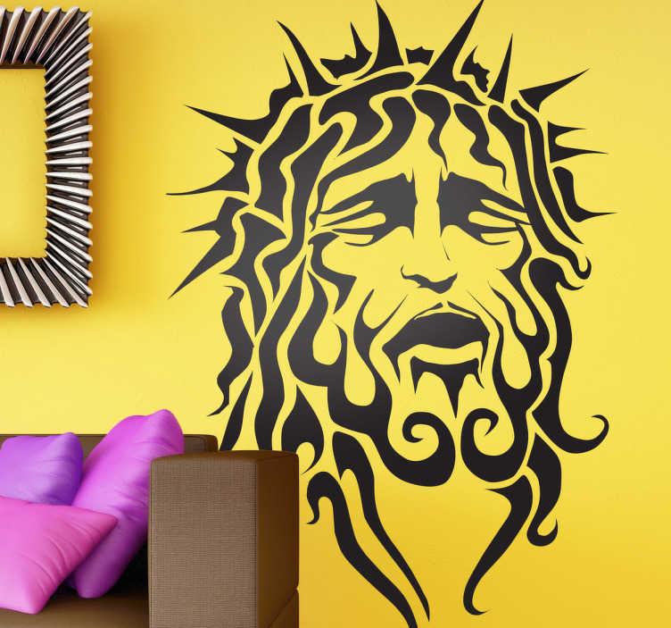TenStickers. Naklejka dekoracyjna Jezus z koroną cierniową. Naklejki na ścianę z Jezusem. Chrześcijańskie naklejki ozdobne z wizerunkiem i podobieństwem Jezusa Chrystusa. Nitypowa ozdoba i aranżacja wnętrz.