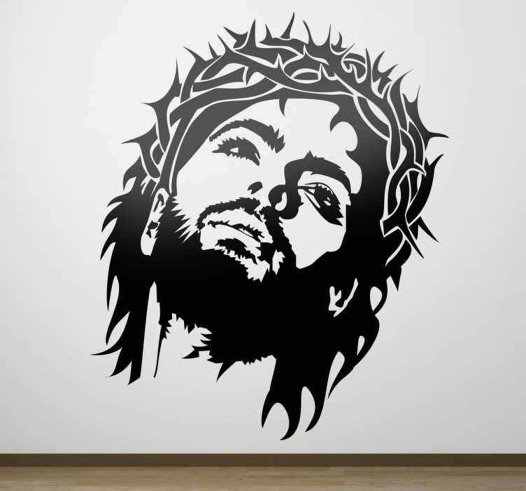 TenStickers. Jesus Crown of Thorns Wall Sticker. A monochrome decal from our collection of Christian wall art stickers illustrating Jesus with the crown of thorns.