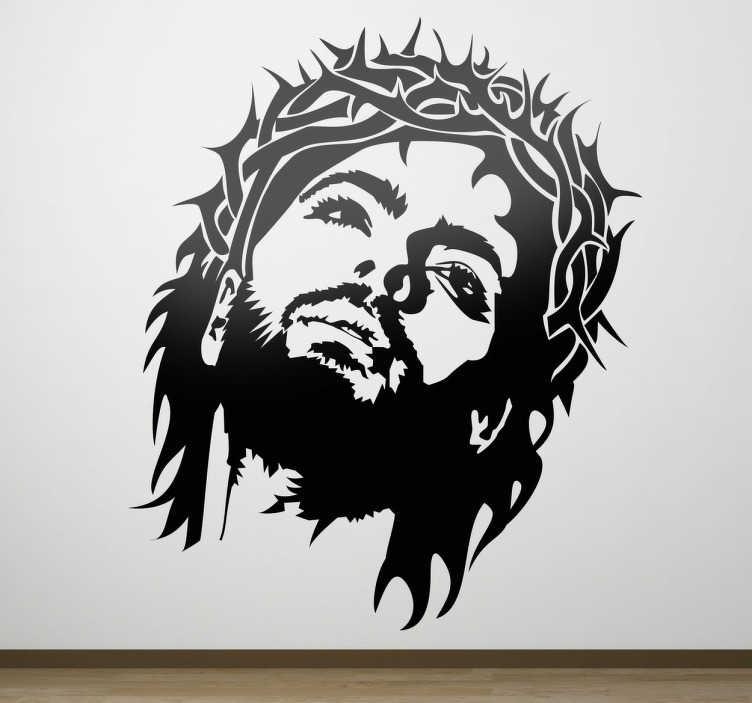 TenStickers. Naklejka dekoracyjna Jezus w koronie. naklejki dekoracyjne z Jezusem w koronie cierniowej. naklejki chrześcijaśnkie. Jezus ze spokojem przyjmuje na siebie koronę cierniową.