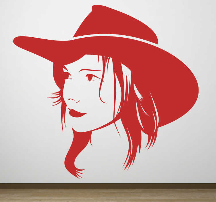 TenStickers. Sticker cowgirl. Faites de votre intérieur un ranch et personnalisez les murs avec ce sticker d'une cowgirl avec son chapeau. Un portrait monochrome original pour une décoration unique.