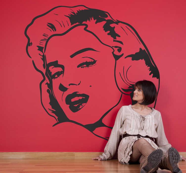 TenStickers. Sticker film Hollywood Marilyn Monroe. Een muursticker met het gezicht van de Amerikaanse actrice Marilyn Monroe. Een wandsticker voor het decoreren van de kale muren in uw woning.