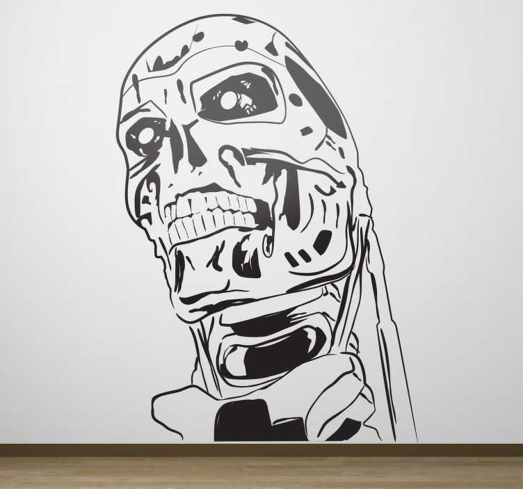 TenVinilo. Vinilo decorativo cara Terminator. Espectacular adhesivo monocromo con el busto del famoso robot de esta saga de filmes futuristas.