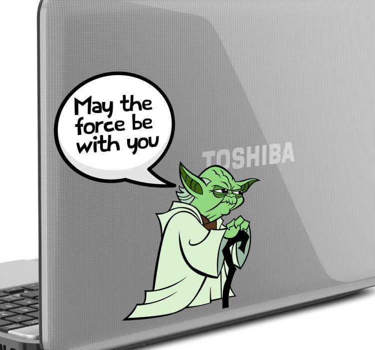 TenStickers. Skin adesiva Yoda per laptop. Personalizza il tuo dispositivo laptop con uno sticker decorativo. Il maestro Yoda ti insegnera' a controllare la forza del tuo dispositivo.