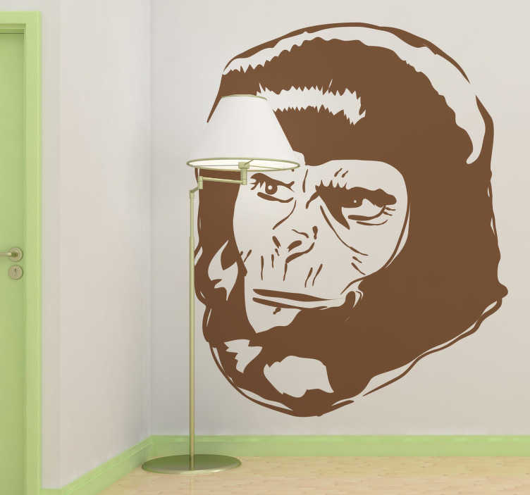 """TenStickers. Naklejka dekoracyjna """"Planeta małp"""". Naklejka na ścianę, która przedstawia postać z głośnego filmu """"Planeta małp"""". Naklejki na ścianę małpy.  Nasi graficy pomogą Ci z projektem!"""