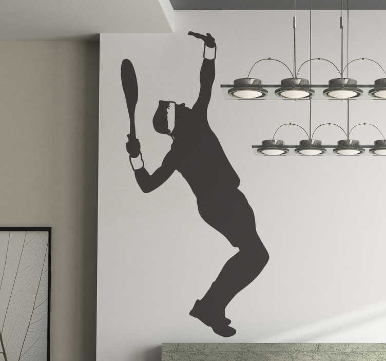 TenStickers. Serving Tennis Player Wall Sticker. Tennis wall sticker of a silhouette outline of a professional male tennis player making a serve, from our collection of sports wall stickers. Create an action-packed atmosphere in any room with this excellent freeze frame.