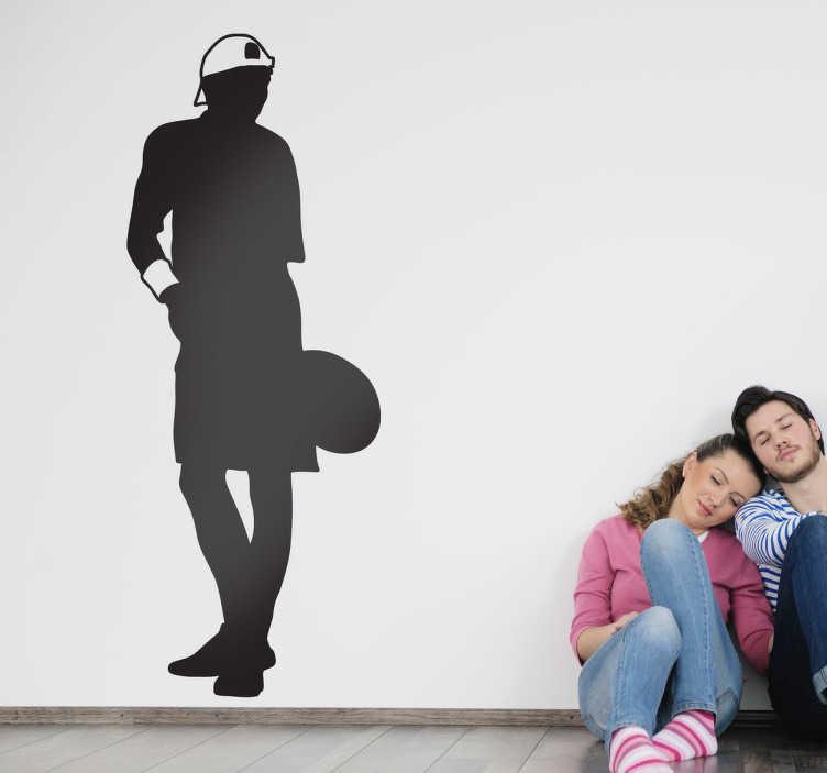 TenStickers. Sticker monochrome tennis service. Stickers décoratif illustrant tennisman prêt à effectuer son service. Sélectionnez les dimensions de votre choix pour personnaliser le stickers à votre convenance.Super  idée déco pour les murs de votre intérieur.