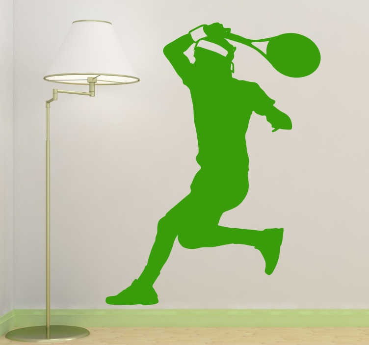 TenStickers. Sticker monochrome tennis tir. Stickers décoratif illustrant un homme pratiquant le tennis, super adhésif pour les passionnés de sport extrême. Sélectionnez les dimensions de votre choix pour personnaliser le stickers.