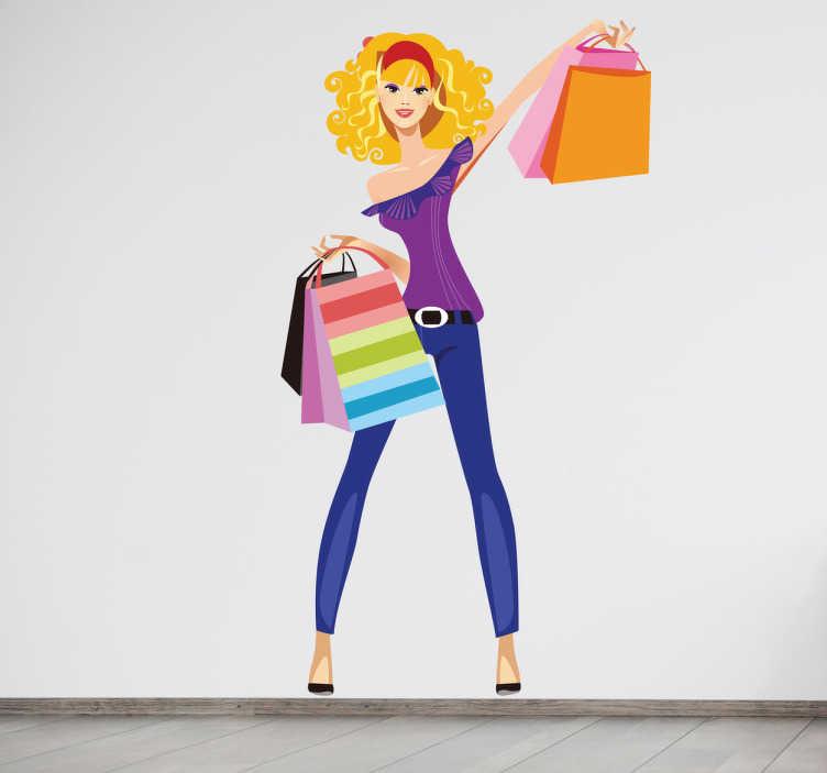 TenStickers. Sticker shoppen vrouw solden. Een leuke muursticker van een mooie dame dat genoten heeft van de solden aangezien ze haar handen vol heeft met winkeltassen.