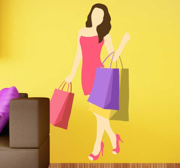TenStickers. Sticker decorativo shopping estivo. Adesivo con una ragazza che regge shopping bag,indossa un bel vestito e scarpe con il tacco.Una decorazione ideale per pareti o vetrine del tuo shop.