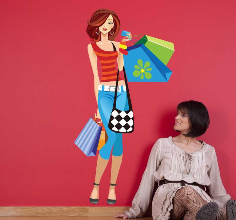 TenVinilo. Vinilo decorativo comprando en primavera. Decora el escaparate de tu establecimiento con esta colorida invitación al consumo. Adhesivo de una chica cargando bolsas.