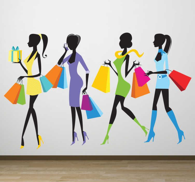 TenStickers. Naklejka dekoracyjna przyjaciółki na zakupach. Kobiety z torbami zakupowymi. Naklejki na ścianę idealne dla firm i sklepów. Ozdoby sklepów. 4 kobiety za zkupach. zakupoholiczki naklejki.