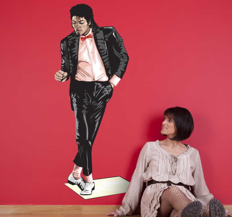 TENSTICKERS. ビリージーンポップミュージックデカール. マイケルジャクソンのイラストが描かれた幻想的なポップミュージックのウォールステッカー。これは、この偉大なアーティストの真のファンにとって完璧な装飾です。