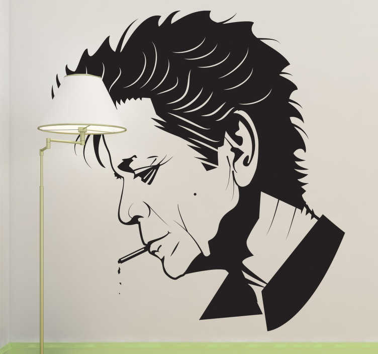 TenStickers. Sticker Lou Reed portret. Muursticker met hierop het gezicht van Lou Reed met een sigaret in zijn mond. Mooie wanddecoratie van de zanger van The Velvet Underground.
