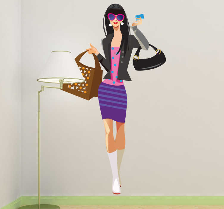 TenStickers. Fashionista Wall Sticker. A creative fashion wall sticker illustrating a young stylish woman with a credit card in her hand ready to spend all her money on shopping.