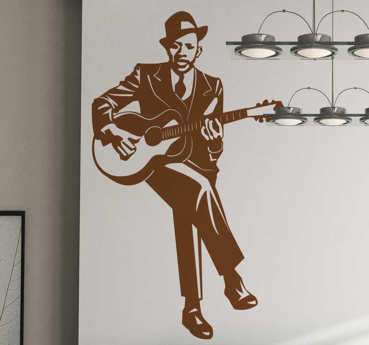 TenVinilo. Vinilo decorativo Robert Johnson. Representación iconográfica en adhesivo del famoso músico americano de blues. Todo un referente para los mejores guitarristas.