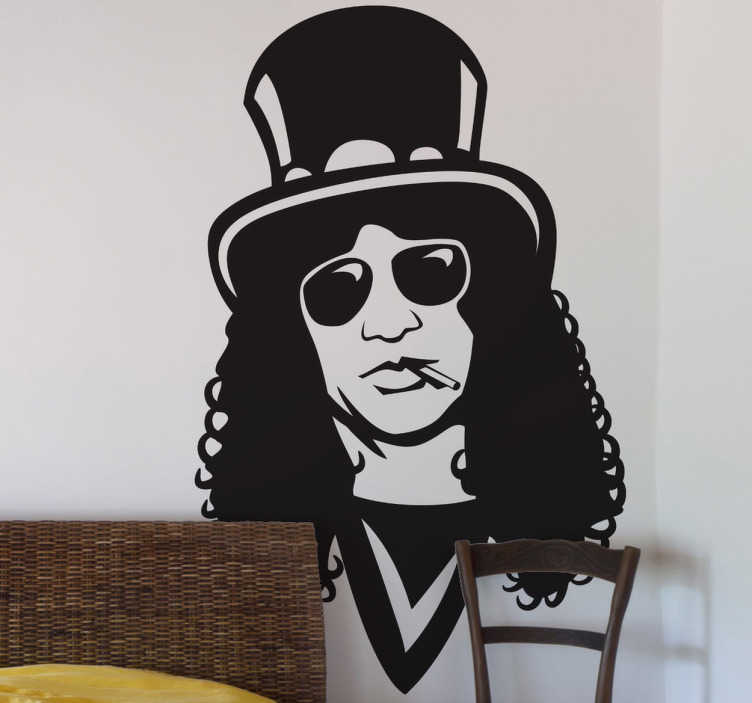TenVinilo. Vinilo decorativo retrato Slash. Adhesivo del famoso guitarrista de la banda americana de rock Guns 'n Roses.
