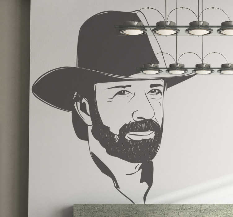 TenStickers. Sticker portrait Chuck Norris. Stickers du portrait de Chuck Norris que l'on retrouve dans Walker Texas Ranger.