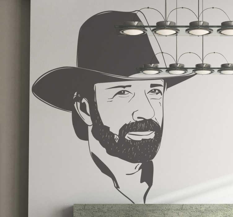 TenStickers. Sticker decorativo ritratto Chuck Norris. Adesivo murale raffigurante il famoso attore americano, esperto di arti marziali, nei panni di Walker Texas Ranger. Un mito tutto americano!