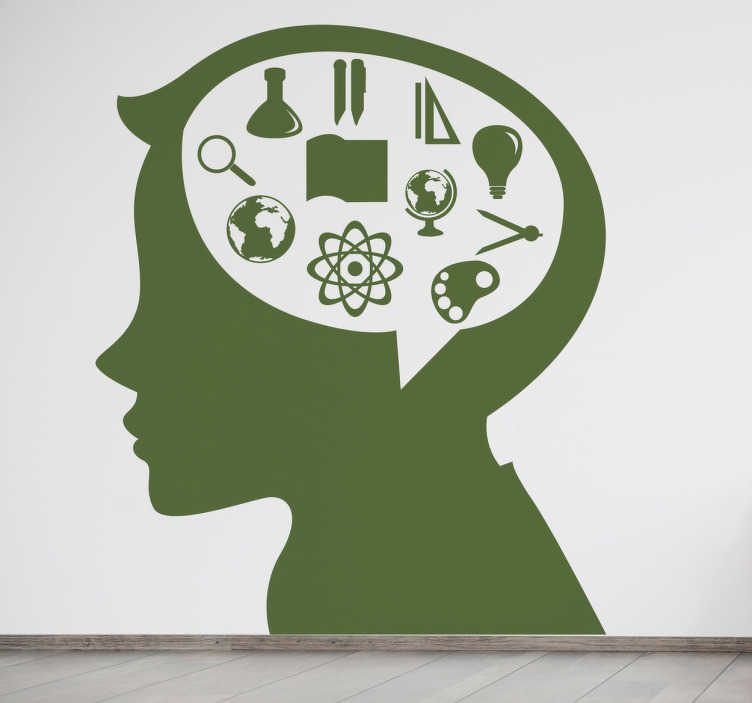 TenStickers. Wandtattoo Schule Lernen. Dieses Wandtattoo zeigt das Profil eines Kindes, in dessen Kopf sich all die Dinge befinden, mit denen man sich in der Schule beschäftigt.
