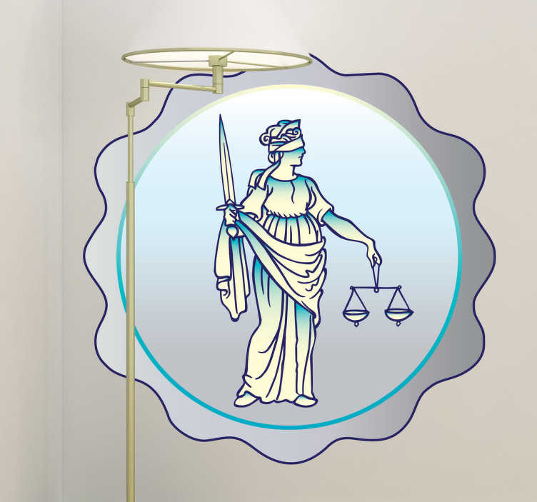 TenStickers. Justice Medal Wall Sticker. Lady Justice wall sticker illustrating a justice medal to decorate your office or your workplace. Are you a person that believes in the power of the law? If yes, then this legal decal is perfect to show your strong beliefs to everyone. Adds a touch of originality to the room too!