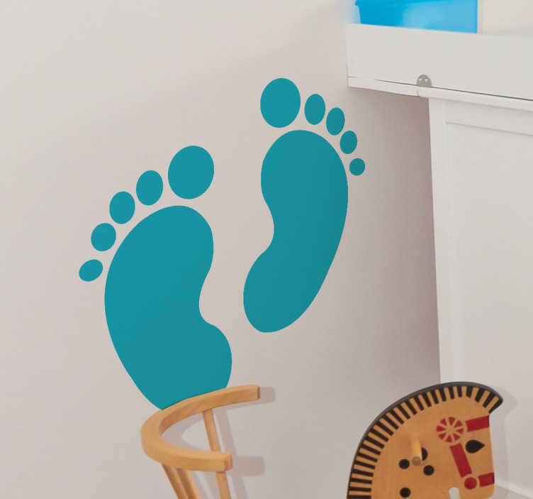 TenStickers. Baby Footsteps Wall Sticker. A brilliant children's wall sticker illustrating a baby's footstep on a wall! Decorate your child's nursery or bedroom with this baby decal!