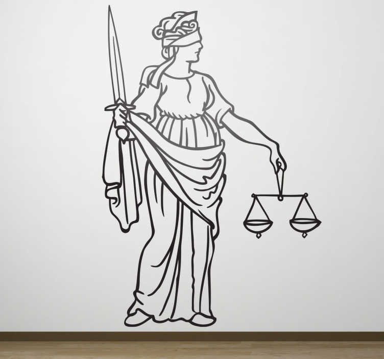 TENSTICKERS. 正義の壁のデカール. 目隠し、縮尺、剣などの女性正義の有意義で象徴的な要素を示す正義の壁のステッカー。あなた自身のオフィスを飾り、適切な環境で作業する素晴らしいモノクロデカール!