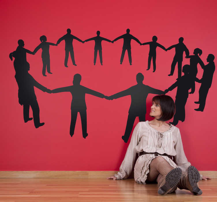 TENSTICKERS. 人間円壁ステッカー. ことわざを信じている人のための人間の輪を示すシルエットの壁のステッカー;全員は一人のために、一人は全員のために。
