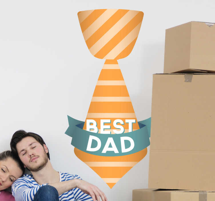 "TenStickers. Best Dad Tie Sticker. Is your dad the best that you could wish for? Show it with this beautiful wall decal of a colourful tie and ""Best Dad"" banner."
