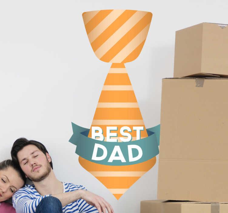 """TenStickers. Sticker best dad. Stickers représentant une cravate et l'inscription """"Best Dad"""".Utilisez ce stickers à l'occasion de la fête des Pères. Adhésif applicable aussi bien sur les murs du salon que sur une surface vitrée."""