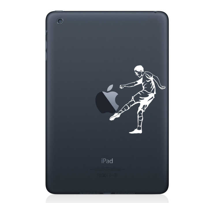 TenStickers. Footballer silueta laptop nálepka. Přizpůsobte si své elektronické zařízení s touto úžasnou nálepkou fotbalového hráče.
