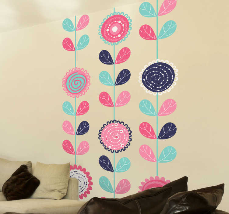 TenStickers. 수직 꽃 데칼. 꽃 벽 데칼 - 집에 색상을 추가하는 꽃 무늬 디자인. 우리의 꽃 벽 스티커는 거품이없는 비닐로 만들어집니다.