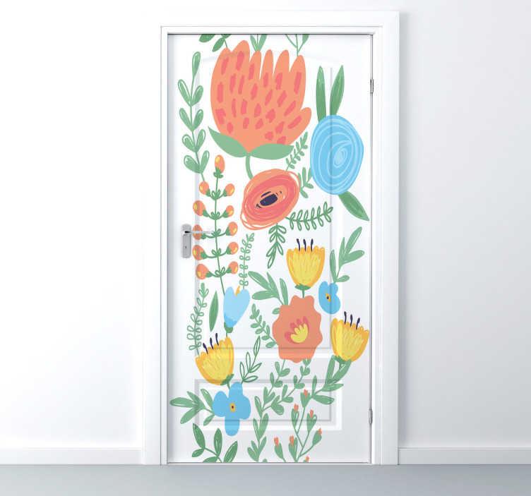 TenStickers. Wandtattoo Blumenwiese für die Tür. Geben Sie Ihre Türen eine ganz besondere Note mit diesem filligranen Blumen Wandtattoo, dass bunte Blumen zeigt.