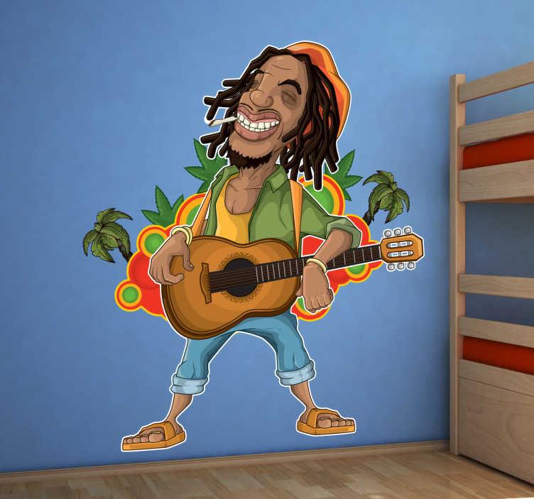 TenStickers. Rastafari Bob Marley Jamaica muursticker. Originele muursticker van de Jamaicaanse Reggae legende Bob Marley! Hij speelt gitaar met zijn dreadlocks, palmbomen met wietplantjes om hem heen.