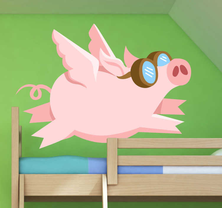 TenStickers. Flying Pigs Kids Sticker. Everyone knows that pigs know how to fly! A great animal wall sticker illustrating a pig with wings flying up high in the air. If your children love pigs then this funny cartoon pig wall sticker is perfect for decorating their bedroom or play area.