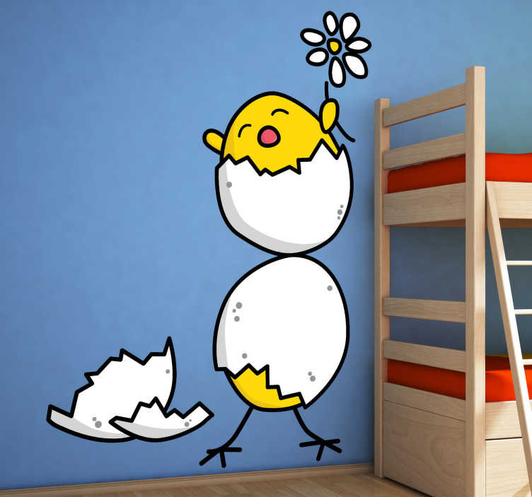 TenStickers. Hatched Chicks Wall Sticker. A playful and fun kids wall sticker of two yellow chicks hatching from their eggs holding a spring daisy. A decal from our collection of funny wall stickers! If your children love animals then this is the perfect wall decoration to personalise their bedroom or nursery!
