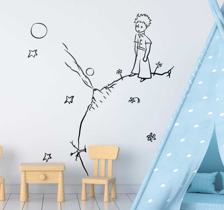 """TenStickers. Naklejka dekoracyjna szkic Mały Książę. Naklejka na ścianę inspirowana klasyczną książką Antoine'a de Saint. Naklejka na ścianę dla dzieci z motywem z książki """"Mały Książę""""."""