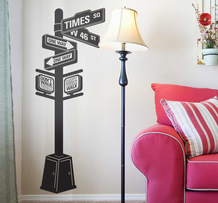 TenStickers. New York City Panel Wall Sticker. An iconic wall sticker illustrating a panel of directions in New York City. Great travel decal for those looking to decorate their living room.