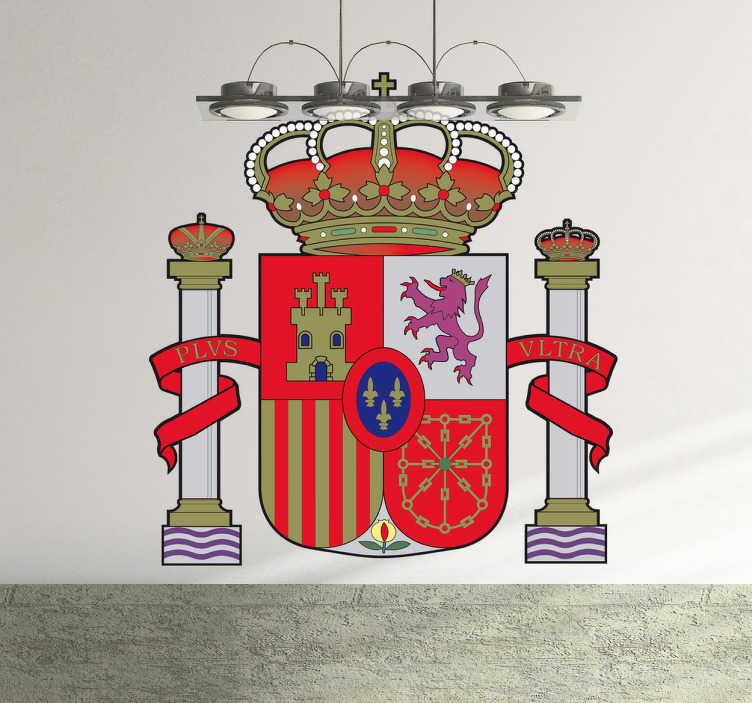 TenVinilo. Vinilo escudo monárquico español. Adhesivo a todo color con el emblema característico de España de nuestra amplia colección de vinilos decorativos.
