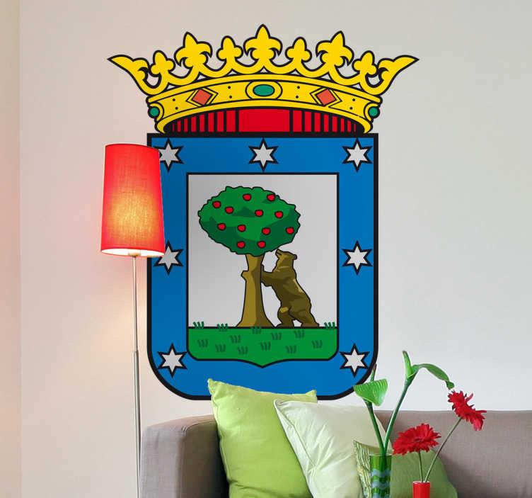 TenStickers. Wandtattoo Emblem Madrid. Dekorieren Sie Ihr Zuhause mit diesem Emblem von Madrid als Wandtattoo! Damit bringen Sie Stil und Geschichte an Ihre Wände
