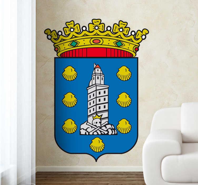 TenVinilo. Vinilo decorativo escudo Coruña. Adhesivo a todo color con el emblema del famoso municipio gallego, de nuestra amplia colección de vinilos decorativos.