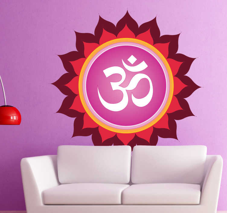 TenStickers. Sticker decorativo simbolo Om Mandala. Adesivo murale dai colori molto intensi, che raffigura il noto simbolo di pace della religione induista.