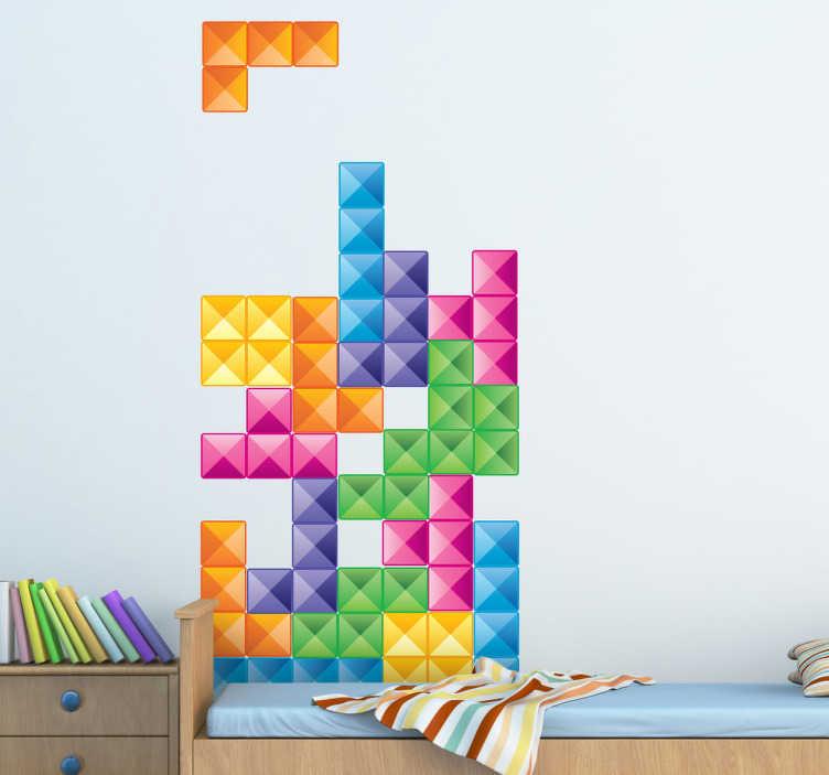 """TenStickers. Sticker blokken tetris. Muurstickers gebaseerd op het klassieke spel voor op de Game boy: """"Tetris"""". Decoreer je woning op een leuke manier met deze wanddecoratie."""