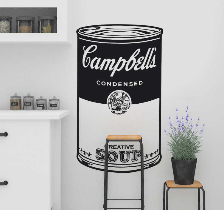 TenStickers. Campbells Soup Illustration Wall Sticker. Wall Stickers - Decals - Feature inspired by the famous work of pop artist Andy Warhol.