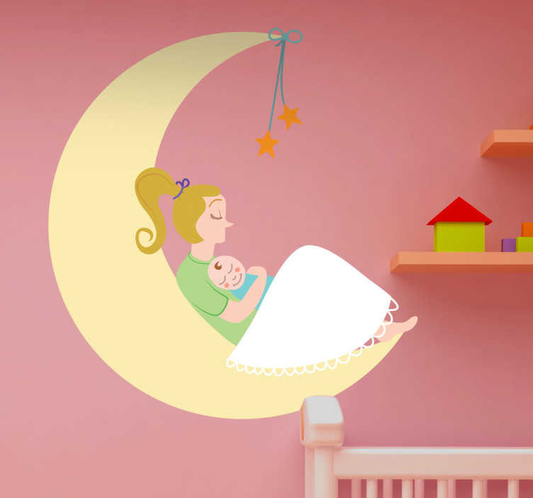 TenStickers. Naklejka mama z dzieckiem i księżyc. Urocza naklejka na ścianę dla dzieci przedstawiająca kobietę z niemowlakiem na półokrągłym księżycu.