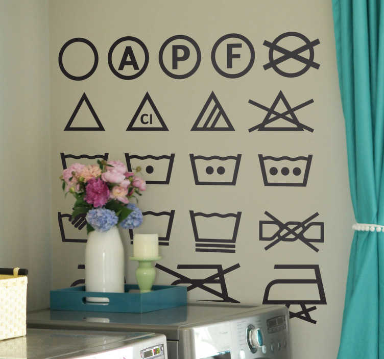 sticker pictogrammes machine laver tenstickers. Black Bedroom Furniture Sets. Home Design Ideas
